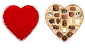 Tarjeta del día de San Valentín: Vista de arriba de la caja abierta del caramelo Fotografía de archivo