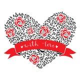 Tarjeta del día de tarjeta del día de San Valentín con el corazón floral Vector Imagen de archivo