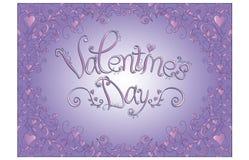 Tarjeta del día de tarjeta del día de San Valentín con el fondo púrpura Stock de ilustración