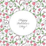 Tarjeta del día de tarjeta del día de San Valentín con el ornamento de los corazones Stock de ilustración