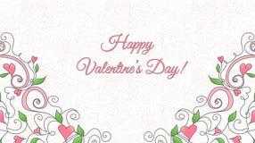 Tarjeta del día de tarjeta del día de San Valentín con el ornamento de los corazones Ilustración del Vector