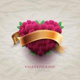 Tarjeta del día de tarjeta del día de San Valentín con las rosas Fotos de archivo