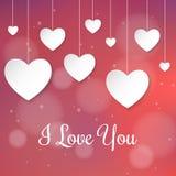 Tarjeta del día de tarjeta del día de San Valentín con los corazones de papel 3d Imagen de archivo