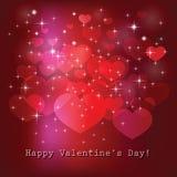 Tarjeta del día de tarjeta del día de San Valentín con los corazones y las estrellas Vector Foto de archivo libre de regalías