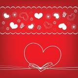Tarjeta del día de tarjeta del día de San Valentín con los corazones y las flores, marco del corazón Fotos de archivo libres de regalías