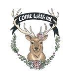 Tarjeta del día de tarjeta del día de San Valentín con un ciervo, una guirnalda de la flor y una cinta libre illustration