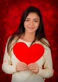 Tarjeta del día de tarjeta del día de San Valentín de la lectura de la muchacha Fotos de archivo libres de regalías