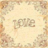 Tarjeta del día de tarjeta del día de San Valentín del vintage con un marco floral Fotografía de archivo