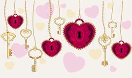 Tarjeta del día de tarjeta del día de San Valentín un corazón con llaves Fotografía de archivo