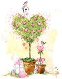 Tarjeta del día de tarjetas del día de San Valentín Árbol de amor de las tarjetas del día de San Valentín Fotografía de archivo