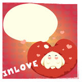 Tarjeta del día de tarjetas del día de San Valentín con el conejo lindo fotos de archivo libres de regalías