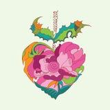Tarjeta del día de tarjetas del día de San Valentín con el corazón floral Foto de archivo