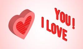 Tarjeta del día de tarjetas del día de San Valentín con el corazón isométrico Fotografía de archivo libre de regalías