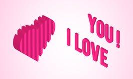 Tarjeta del día de tarjetas del día de San Valentín con el corazón isométrico Fotos de archivo libres de regalías