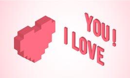 Tarjeta del día de tarjetas del día de San Valentín con el corazón isométrico Foto de archivo libre de regalías