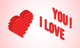Tarjeta del día de tarjetas del día de San Valentín con el corazón isométrico Foto de archivo
