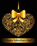 Tarjeta del día de tarjetas del día de San Valentín con el corazón ornamental Fotos de archivo