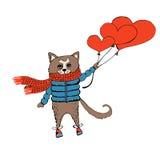 Tarjeta del día de tarjetas del día de San Valentín con el gato y los corazones Imagen de archivo libre de regalías