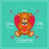 Tarjeta del día de tarjetas del día de San Valentín con el oso de peluche Ilustración del vector Imagenes de archivo