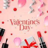 Tarjeta del día de tarjetas del día de San Valentín con la caja de regalo y los cosméticos Foto de archivo libre de regalías