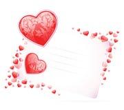Tarjeta del día de tarjetas del día de San Valentín con los corazones Imagen de archivo libre de regalías