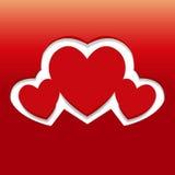 Tarjeta del día de tarjetas del día de San Valentín con los corazones Imagenes de archivo