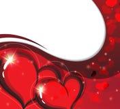 Tarjeta del día de tarjetas del día de San Valentín con los corazones chispeantes Imagen de archivo libre de regalías
