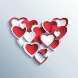 Tarjeta del día de tarjetas del día de San Valentín con los corazones rojos y blancos 3d Imagen de archivo