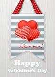Tarjeta del día de tarjetas del día de San Valentín con los corazones y las palabras del amor Fotos de archivo libres de regalías