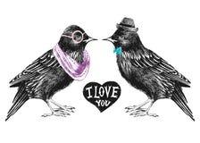 Tarjeta del día de tarjetas del día de San Valentín con los pares de estorninos stock de ilustración