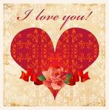 Tarjeta del día de tarjetas del día de San Valentín de Vinage Foto de archivo
