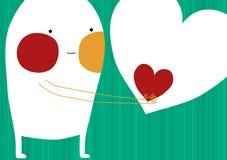 Tarjeta del día de tarjetas del día de San Valentín del muchacho del monstruo del amor Imagen de archivo libre de regalías