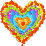 Tarjeta del día de tarjetas del día de San Valentín del vector con el corazón del arco iris Fotos de archivo libres de regalías