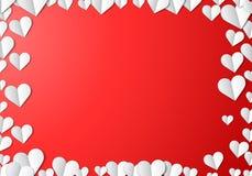 Tarjeta del día de tarjetas del día de San Valentín con los corazones de papel cortados ilustración del vector