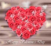 Tarjeta del día de tarjetas del día de San Valentín Corazón de las rosas en el vector de madera del fondo stock de ilustración