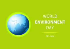 Tarjeta del día del ambiente mundial, cartel con el globo Imagen de archivo libre de regalías