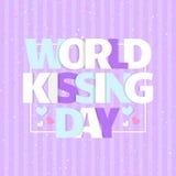 Tarjeta del día del mundo que se besa Celebre besar día con los corazones ilustración del vector