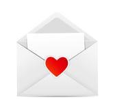 Tarjeta del día del ` s de la tarjeta del día de San Valentín con el sobre y el corazón Imagen de archivo