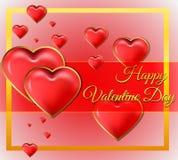 Tarjeta del día del ` s de la tarjeta del día de San Valentín con las letras del oro Imagen de archivo