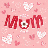 Tarjeta del día o de cumpleaños de madres en la rosado-mejor MOMIA nunca ilustración del vector