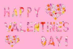 Tarjeta del día del ` s de la tarjeta del día de San Valentín, texto: ¡Valentine Dai feliz! Imagen de archivo libre de regalías