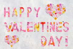 Tarjeta del día del ` s de la tarjeta del día de San Valentín, texto: ¡Valentine Dai feliz! Fotos de archivo