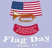 Tarjeta del d?a de la bandera Cartel para el cumplea?os del 14 de junio de barras y estrellas americanas Himno americano de los E stock de ilustración