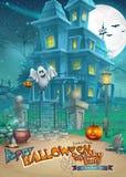 Tarjeta del día de fiesta con una casa encantada misteriosa de Halloween, calabazas asustadizas, un sombrero mágico y un fantasma Imagen de archivo