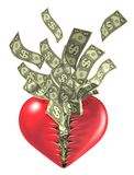 Tarjeta del día de San Valentín del amor del corazón y del dinero Imagen de archivo