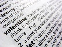 Tarjeta del día de San Valentín en diccionario Fotografía de archivo libre de regalías