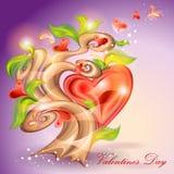 Tarjeta del día de San Valentín \ \ \ 'árbol del día de s Foto de archivo