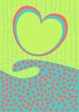 Tarjeta del día de tarjetas del día de San Valentín con la onda de los corazones Imagen de archivo libre de regalías
