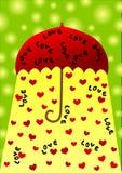 Tarjeta del día de tarjetas del día de San Valentín del paraguas Imágenes de archivo libres de regalías