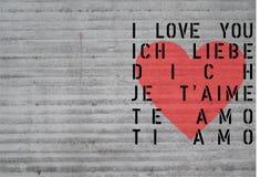 Tarjeta del día del St Valentin - amor concreto Imagen de archivo libre de regalías